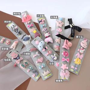 Fashion cute princess little rabbit flower design hairpin baby princess hair clip ornaments set wholesale baby accessories
