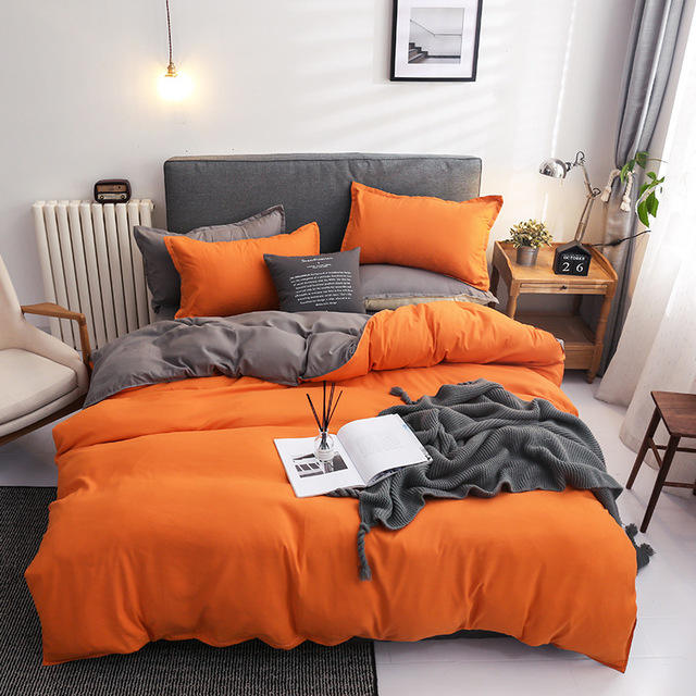 European Luxury Soild Color King Bed Sheet Bed Linen Online Microfiber Duvet Cover Pillow Case Set Bedding 4 Set