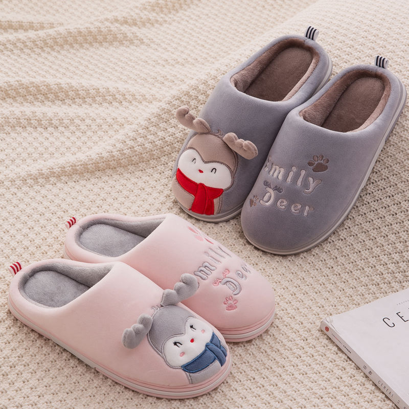 Cartoon deer cute cotton slippers female winter bag with household indoor couple non-slip cotton shoes male 2019 new dormitory