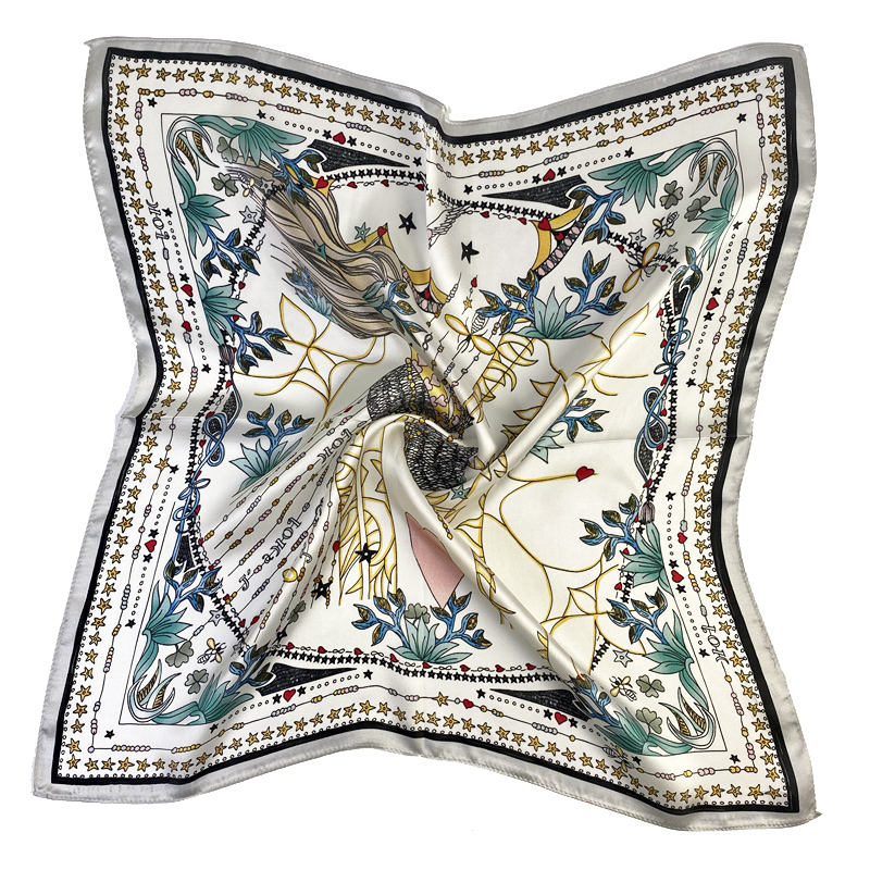 53*53cm Square silk scarf available from stock