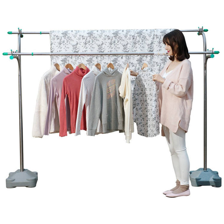 large folding telescopic stainless steel courtyard clothes drying rack