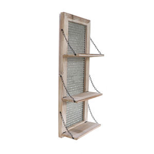 Fir Wood and Metal Galvanized Sheet Wave Wall Shelf with Metal Rope