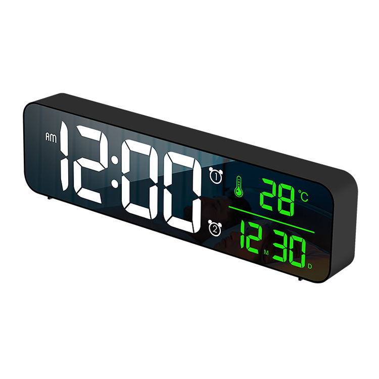 Full HD LED Music Wall Alarm Clock Mirrors Decor Wall Clock