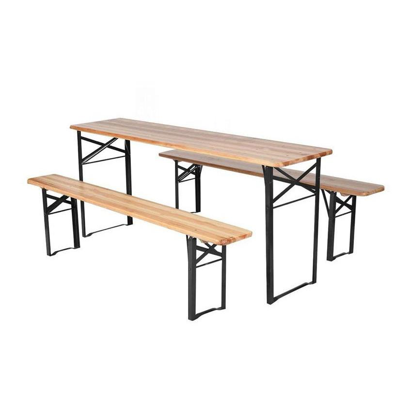 Strong Outdoor Wood Folding Beer Table with Beer Bench