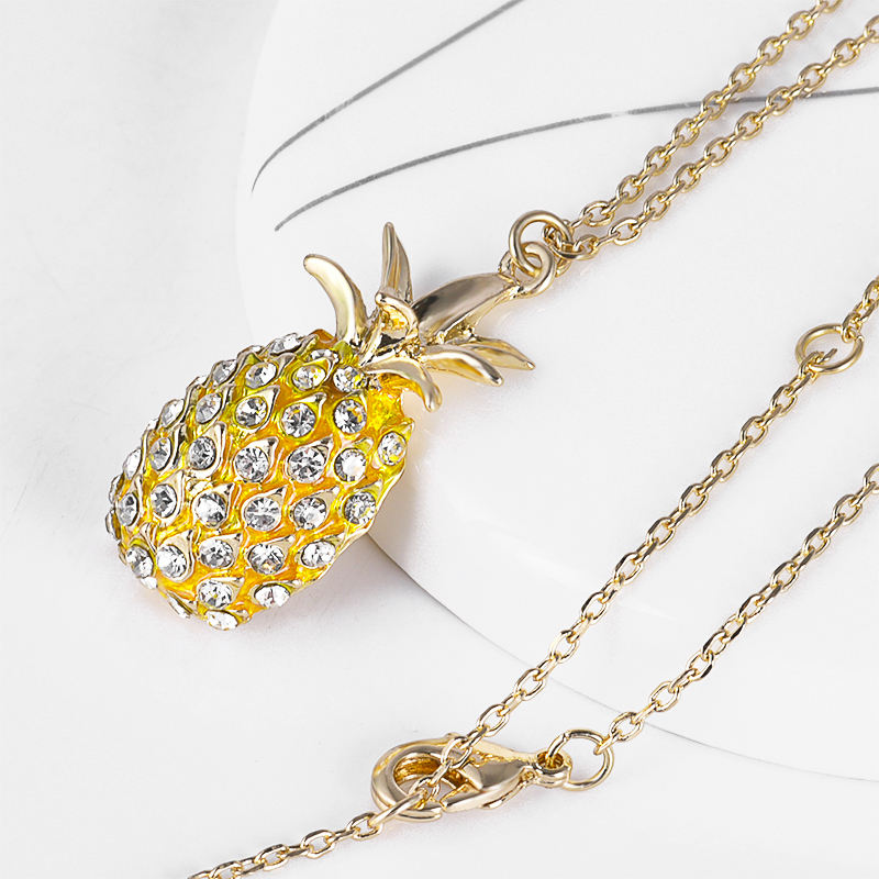 Custom 18K Gold Plated Pendant Fashion Crystal Stone Pineapple Necklace