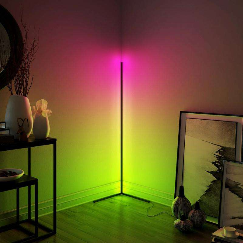 New Design Black RGB Remote LED Corner Floor Lamp For Living Room Decoration