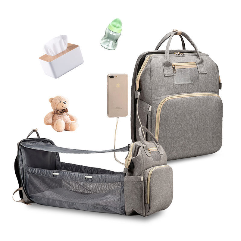 USB Diaper Bag Bed Waterproof Mummy Nappy Bags Food Grade Pacifier Case Baby Diapers Bag Backpack