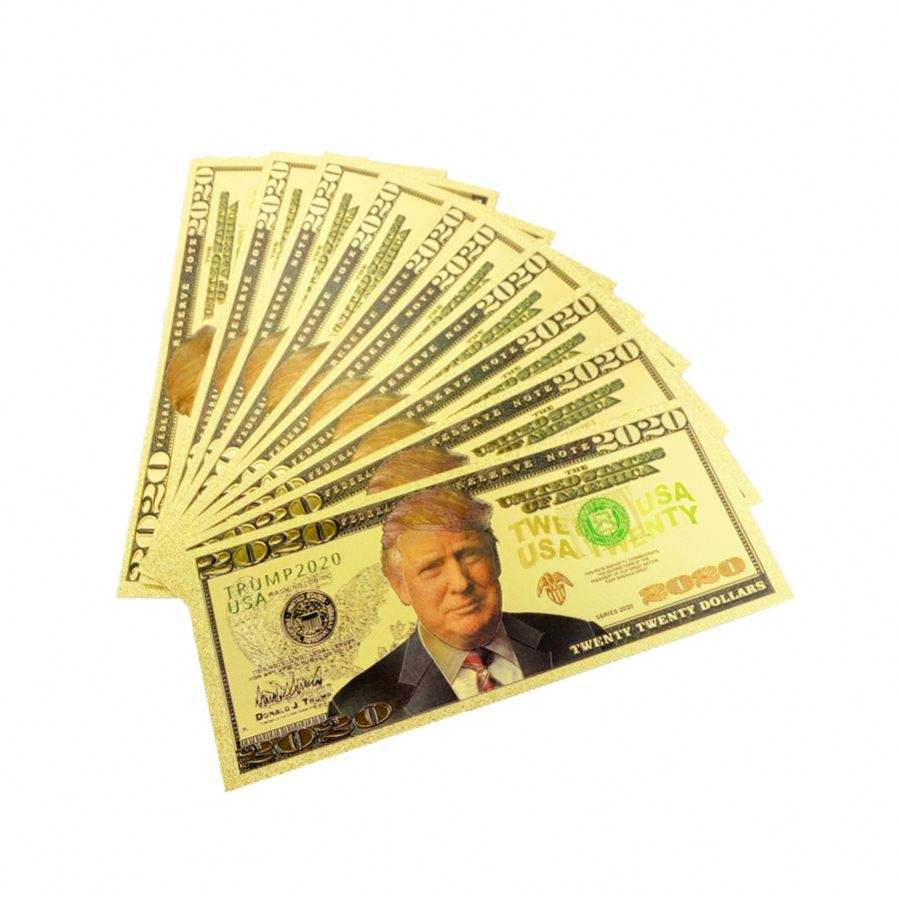 2020 America election President Donald Trump us dollar paper bills gold fake money