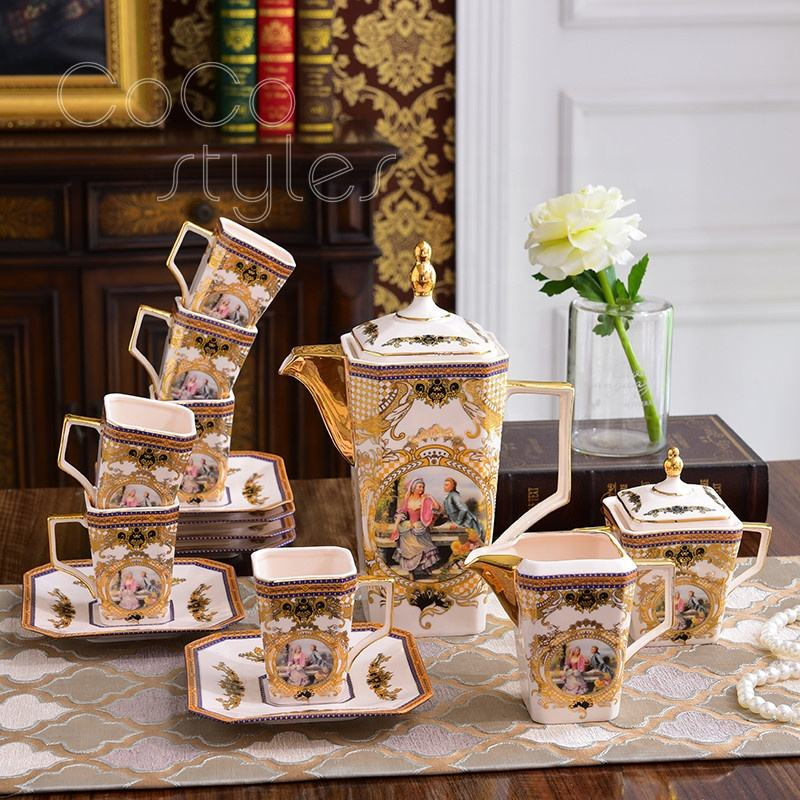 Cocostyles custom european art style square shape plated bone china coffee set for classical high class afternoon tea store