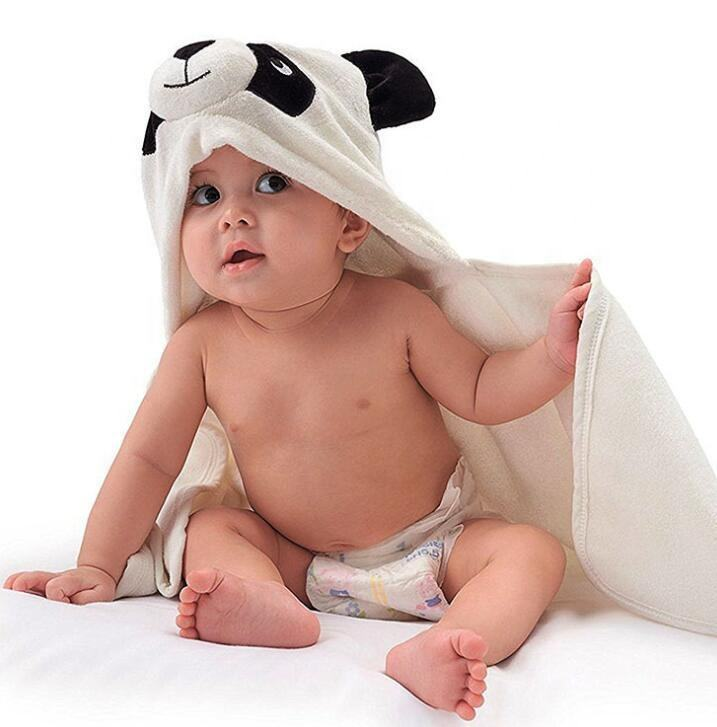 Thick and soft panda organic hooded baby towel 90x90cm wholesale
