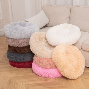 Wholesale high quality multicolor optional plush soft round pet bed deep sleep warm pad pet bed dog