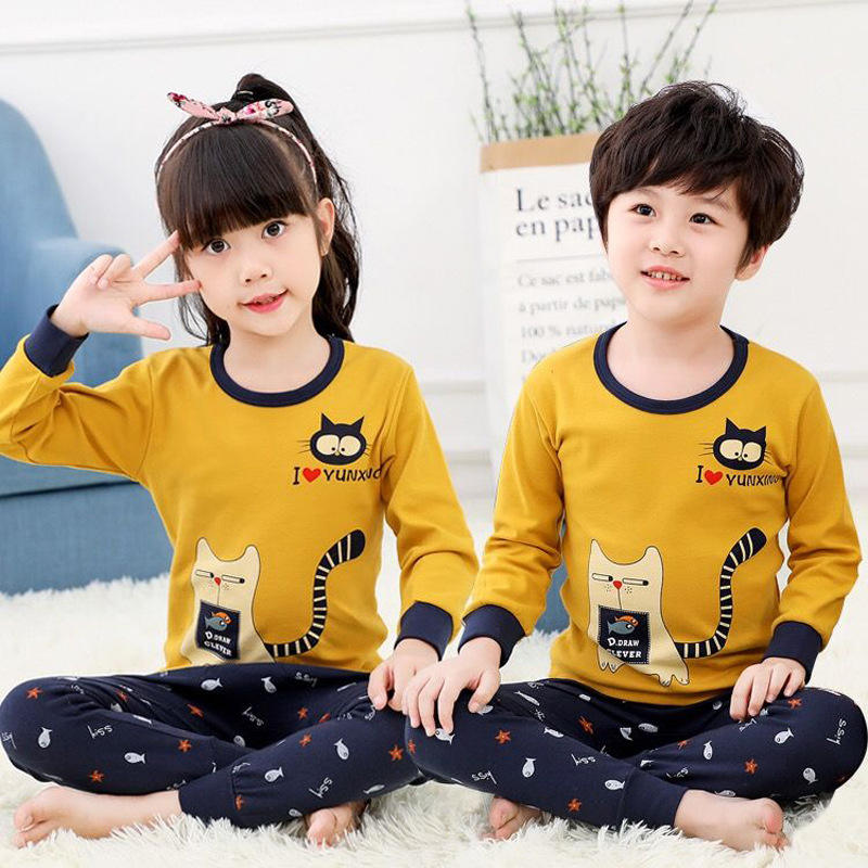 Children's boy girls sleepwear pyjamas child pajamas sets kids high quality pijamas custom made kids pajamas
