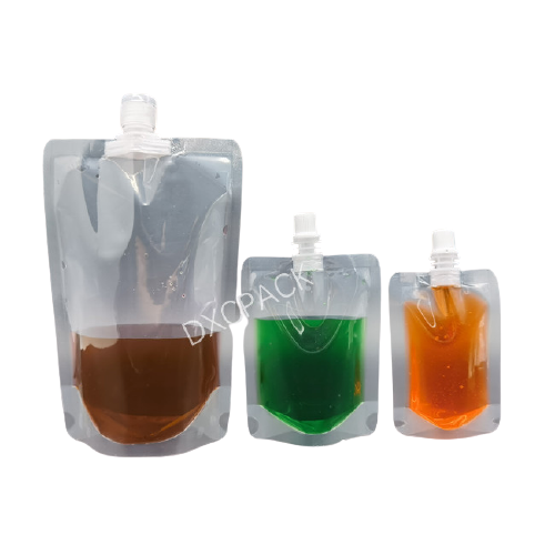 DXC. Clear Stand Up Beverage Spout Bag Plastic Juice Drinking Liquid Spout Pouch for Milk Honey Jelly Package
