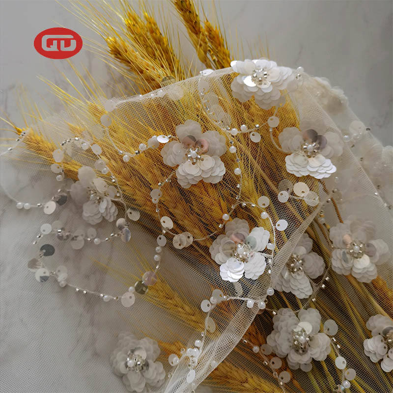 High quality tulle with spangle lulu & beads flower pattern sequins lace embroidery fabric