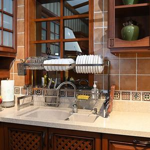 Plate Rack Holder 2 Tier Over The Sink Dry Dish Drainer Rack Dish Stand Kitchen