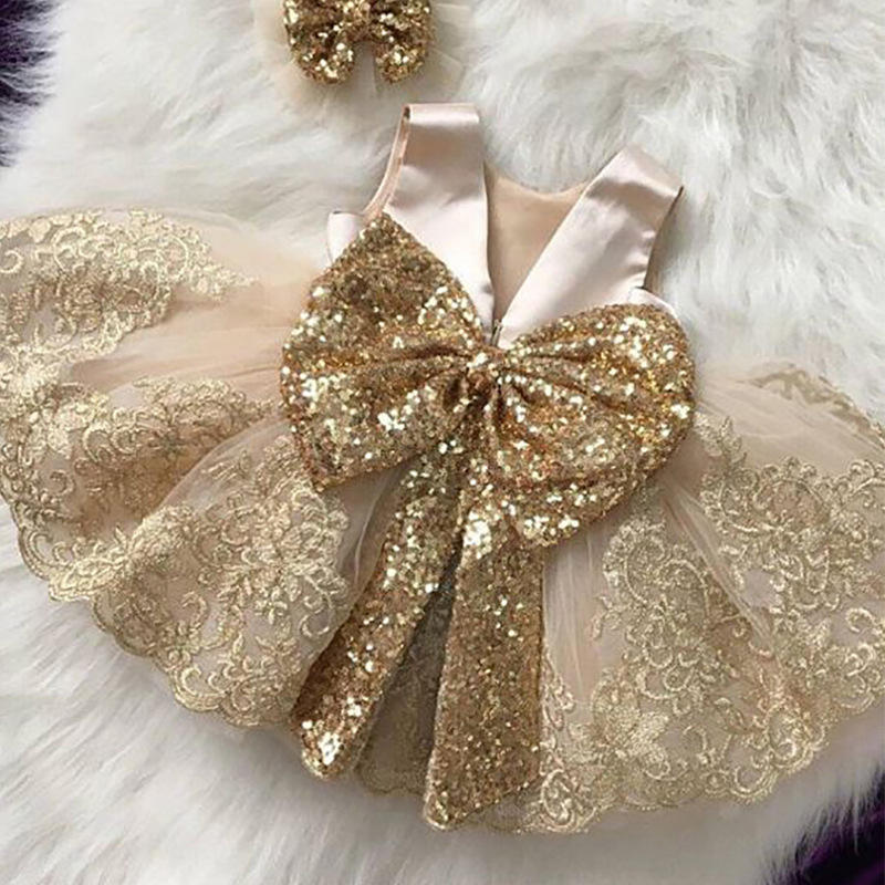 Ivy10493A Spanish flowers girls princess dress high quality girls baby sequin big bow birthday party dress design