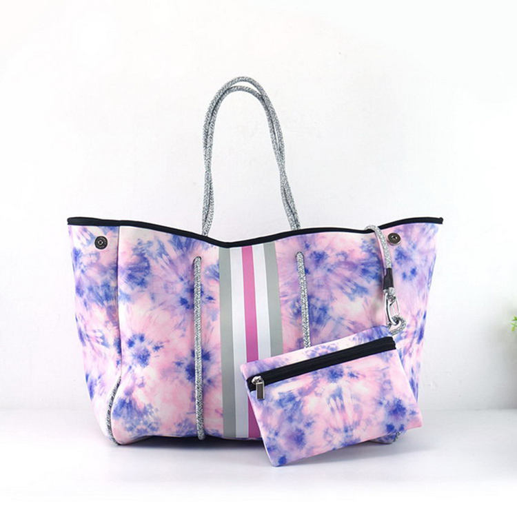2021 Hot selling Low Price Colorful Print Portable Perforated Neoprene Beach Bag Tote Handbag Bags for Women