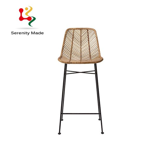 Bar furniture Water-proof Real wicker rattan stool chair for outdoor use with hairpin legs