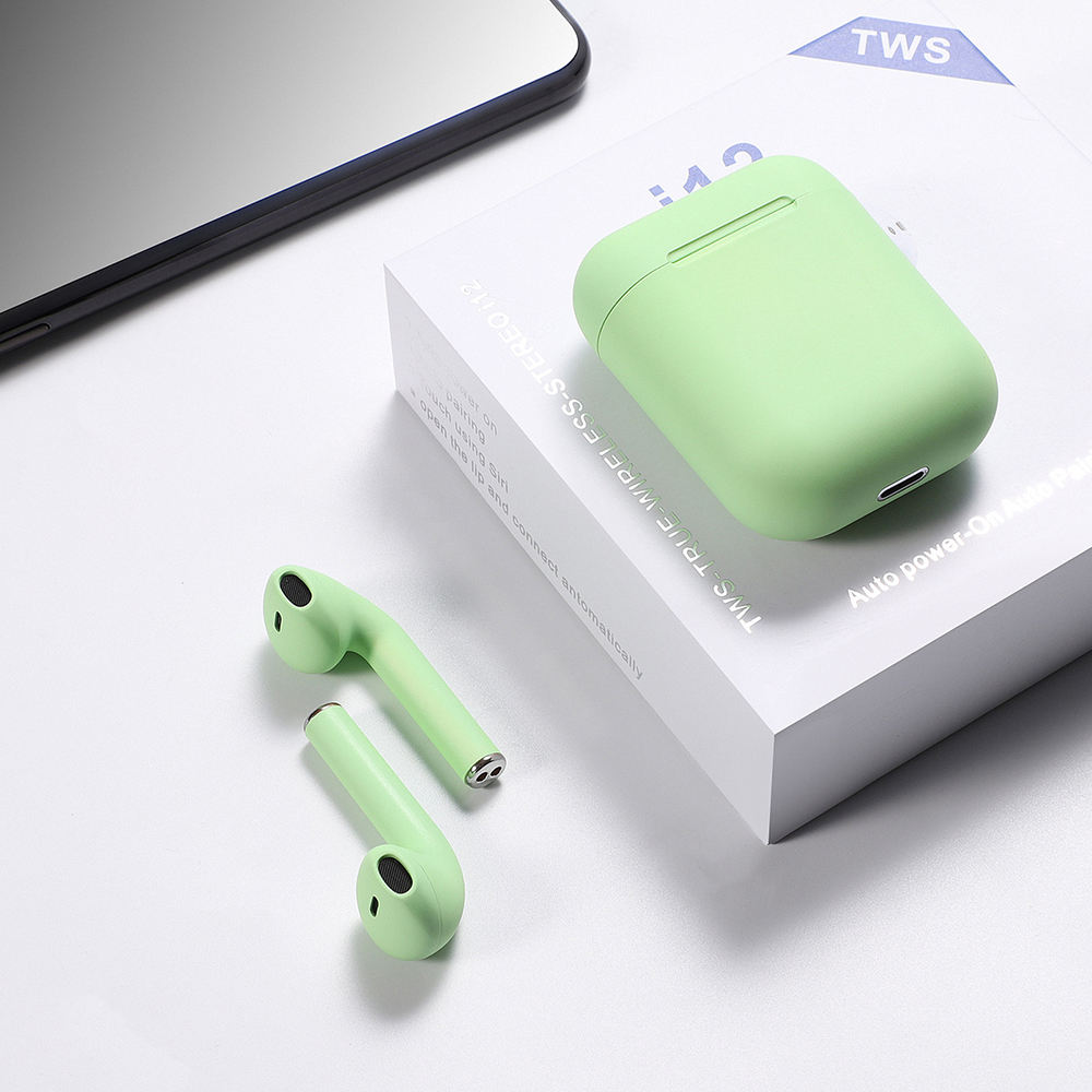 i12s TWS Touch siri Wireless Stereo Earphones with Charging box 15m induction Macaron bluetooth 5.0 class 2 waterproof earbuds