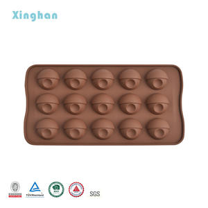 OEM Custom Logo 15 Cavities Round Shape moldes de Chocolates Silicone moulds Diy christmas 3D making Candy Lollipop ice Mold
