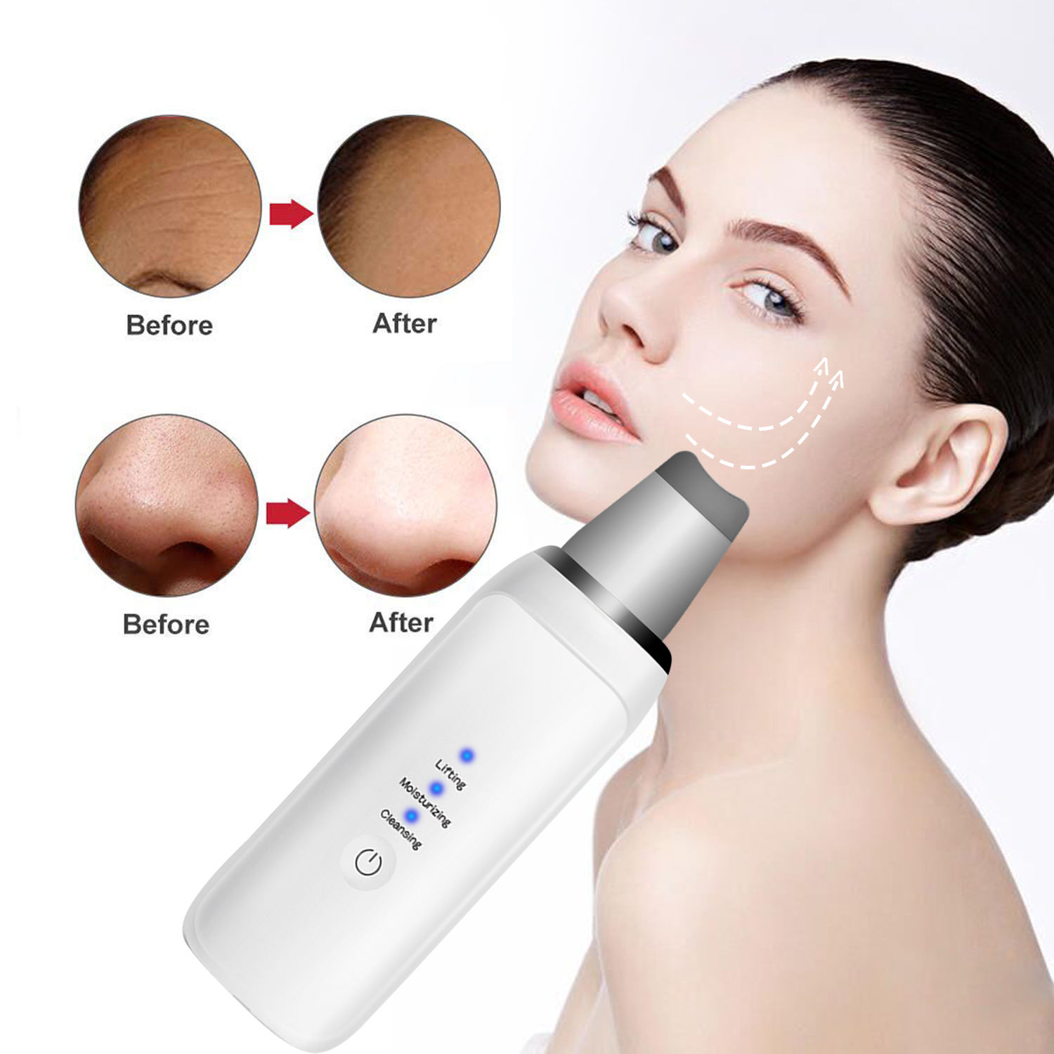 2020 Wholesale Hand Hold Ultrasonic Face Cleaner Professional CE RoHs approved Microcurrent Ultrasonic Skin Scrubber