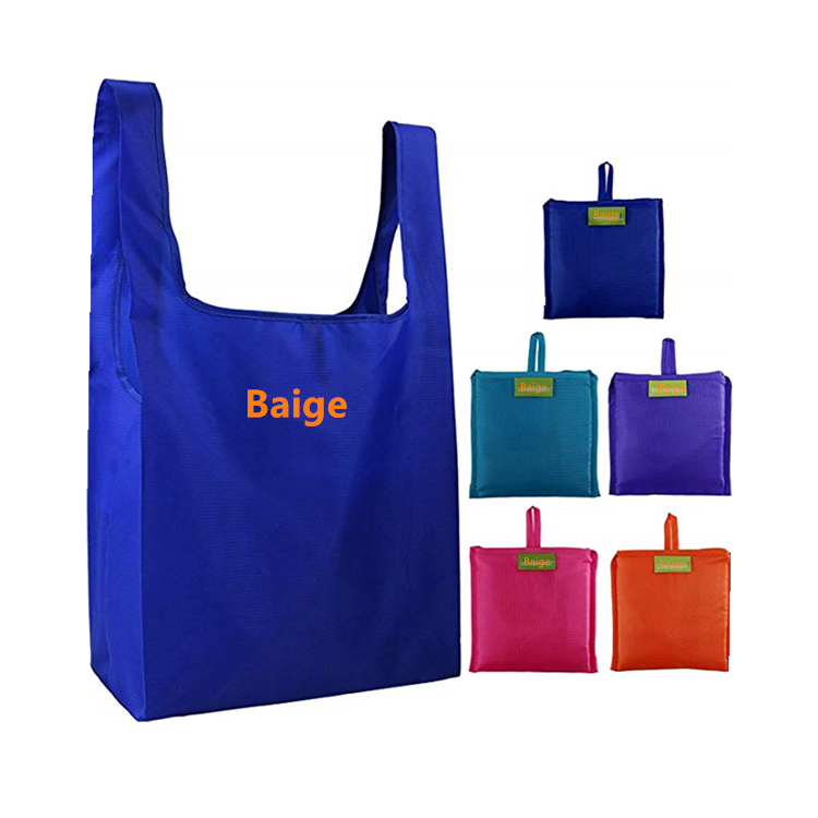Custom Logo Big Supermarket Folding Shopping Bag into Pouch Eco Friendly Rpet Tote Reusable Grocery Bags