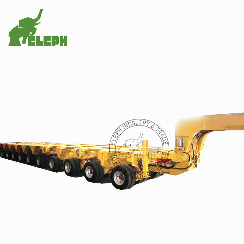 Front Tow Draw Bar Semi Trailer Multi Rotary Axles Transport 100T Machines Self Propelled Modular Trailer