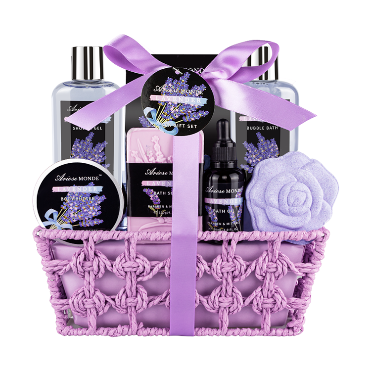 Lavender Scent - Bubble Bath Shower Gel Hand & Face Cream Body Lotion Hand Soap Perfect Gift Box for Women