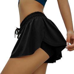 Womens Comfy Drawstring Casual Elastic Waist tennis Shorts 2pcs Skirt