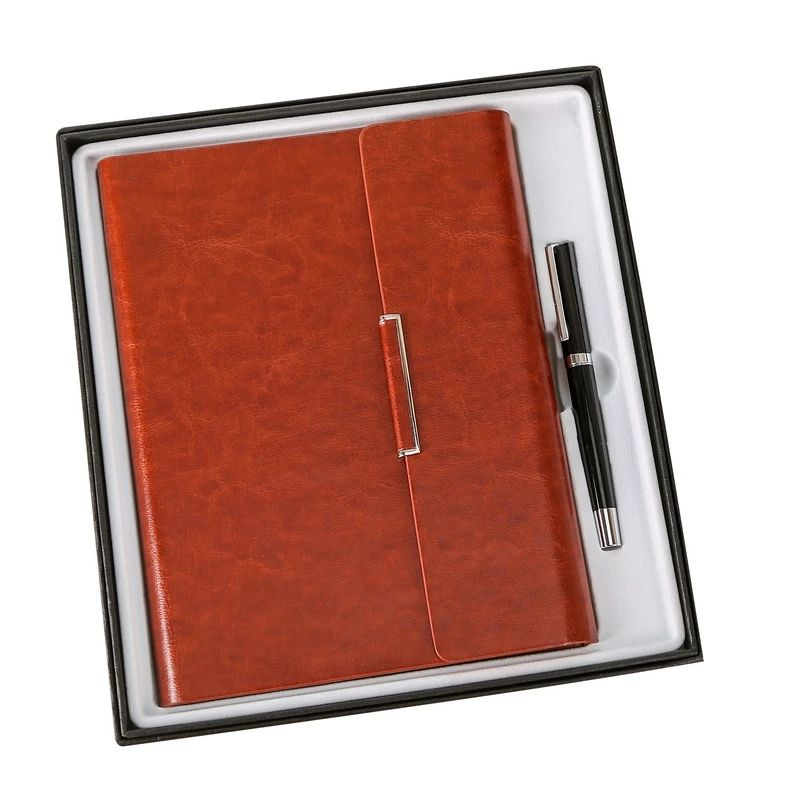Classic customized hardbound planner 3 fold notebook gift set.