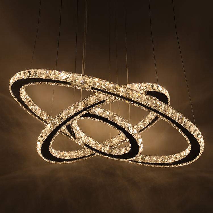Creative modern large size ring-shaped living room bedroom 3 halo lighting LED golden ring crystal chandelier