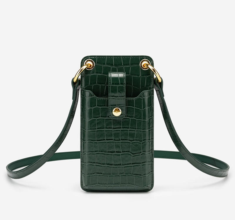 Fashion embossed crocodile leather cell phone crossbody bag wallet mobile phone bags cases