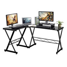 Corner L Shaped gaming table black desktop computer desk