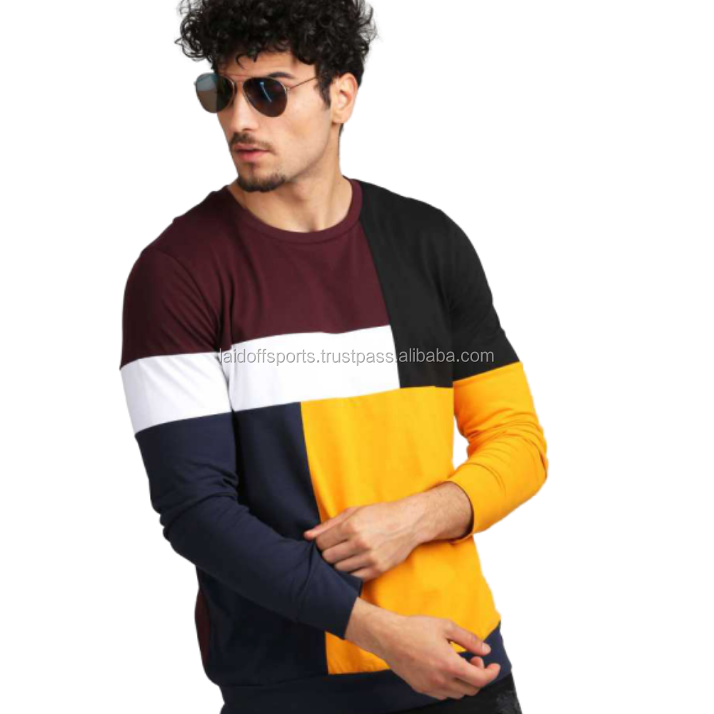 New Arrival Spring Long Sleeve T-shirts Men Loose Fit Color Block