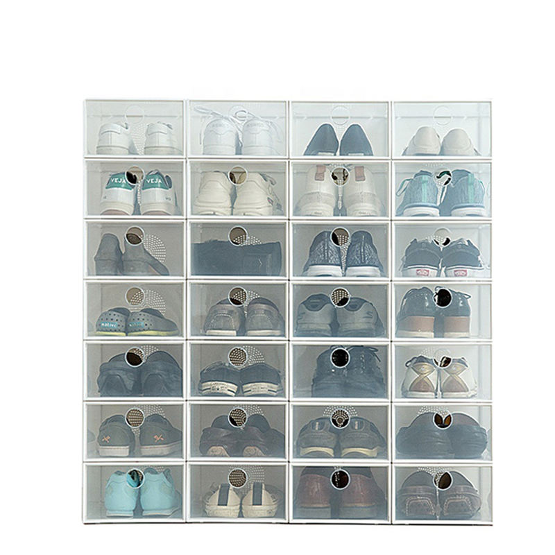 Clear Plastic Shoe Box Containers Storage Drop Boxes Shoes Down Drawer Style