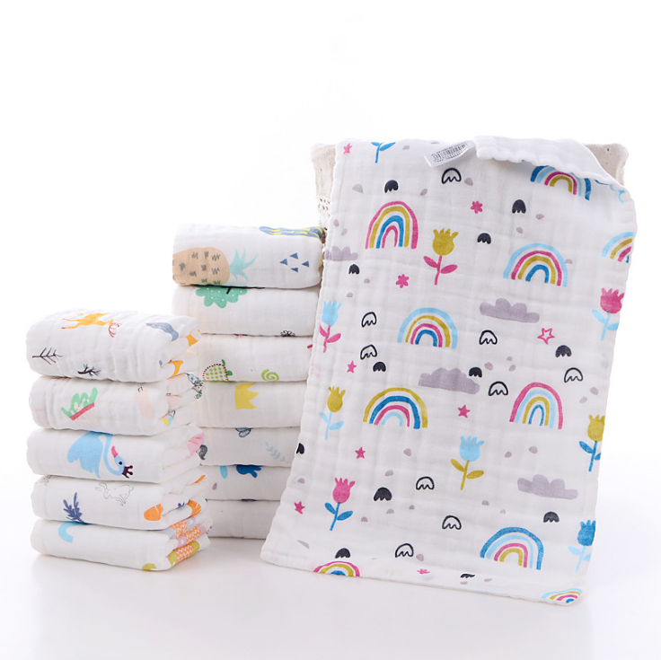 Wholesale cotton 6 layers pinted cartoon muslin towel 25*50cm baby muslin washcloths and towels