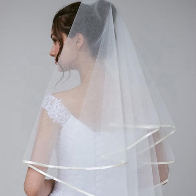 Branco e marfim tulle wedding bridal veils