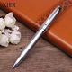 Hot Selling Advertising Ballpoint Pen Silver Color Heavy Metal Twist Ball Pen Office Business Supplies