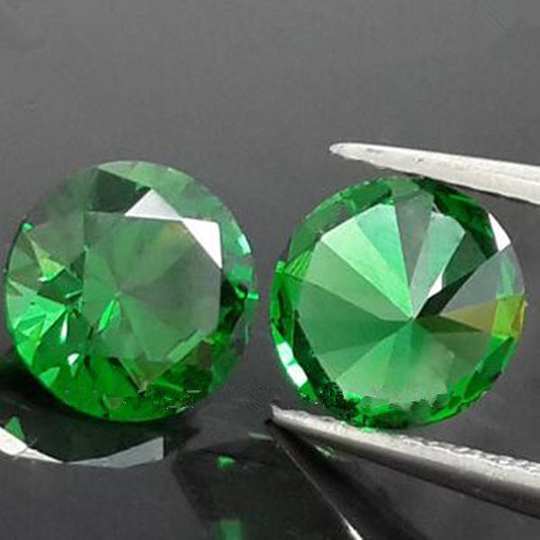 Synthetic cheap emerald stone round green crystal zirconia gems