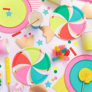 Disposable Customized Themed CMYK Party paper plate and paper cups