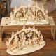 Christmas Gift Circular Display Creative DIY 3D Wooden Christmas Puzzle