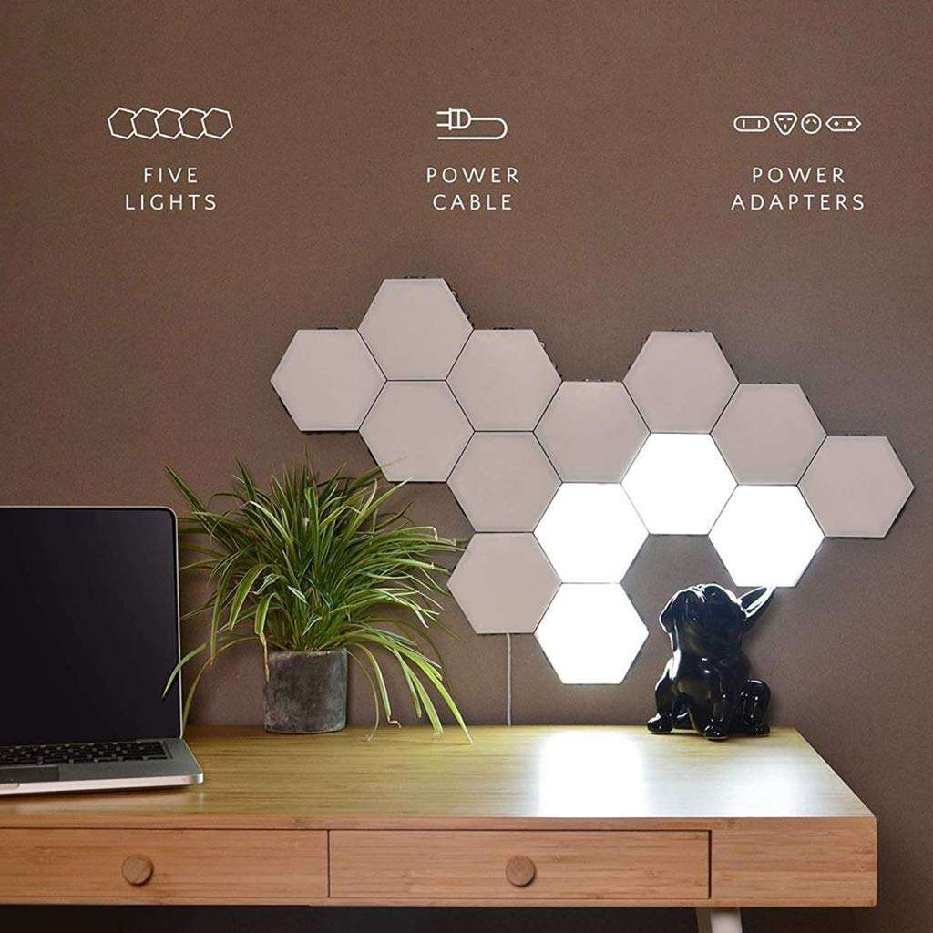 LED Night Light of Indoor Smart Creative Modular Touch Sensitive Quantum Hex Tiles Light