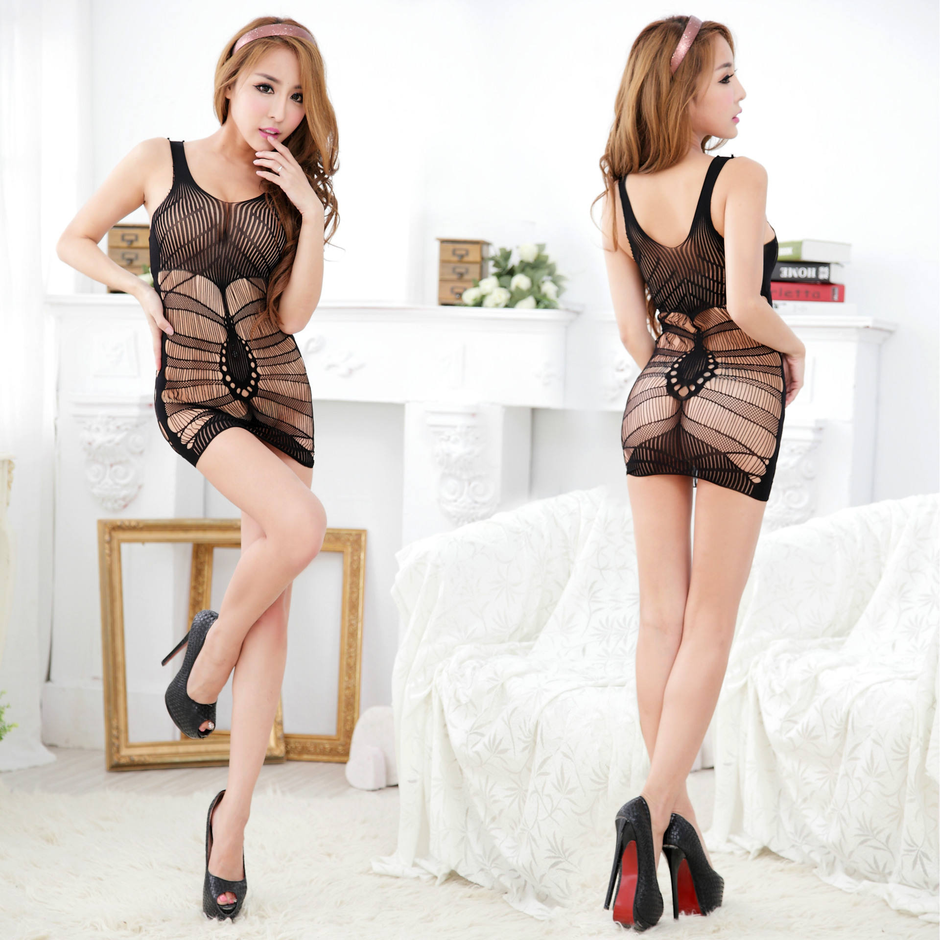 Renda Hollow Keluar Transparan Stoking Seksi Mesh Teddy
