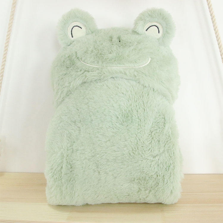 Flannel Blanket China Factory Embroidery Animal Cute Frog Warm Flannel Reverse To Rabbit Fur Baby Kids Hooded Blanket