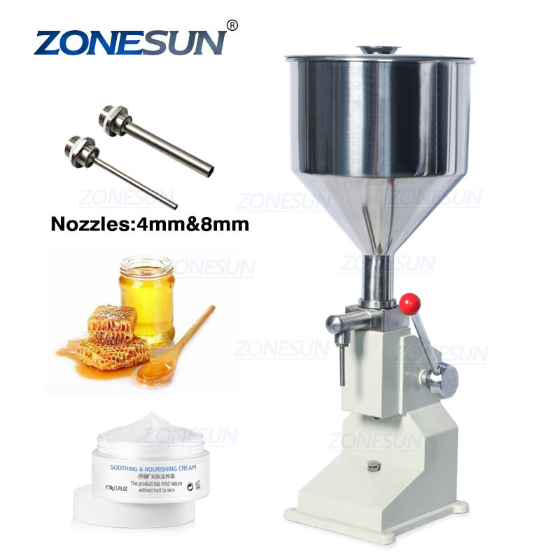 ZONESUN A03 Hand Operated Filling Machine Manual Cosmetic Paste Sausage Cream Liquid Filling Supply