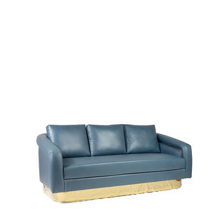 Luxury Living Room Furniture 3 Seater Blue Leather Sofas