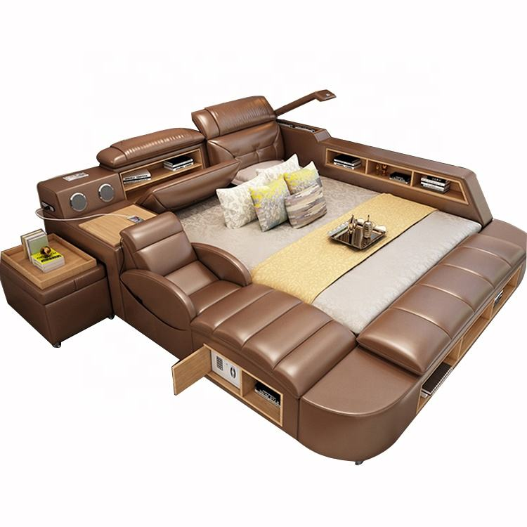 Modern Brown Bedroom Furniture Leather Bed with Speaker USB Charger Massage Sofa Bed