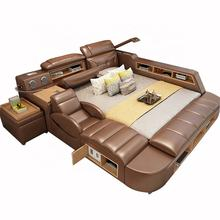 Modern leather white Bedroom Furniture with speaker USB charger massage sofa