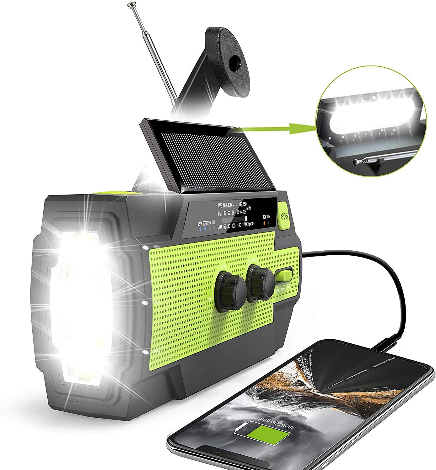 3 in 1 cheap Solar hand powered generator crank solar dynamo torch radio usb phone charger