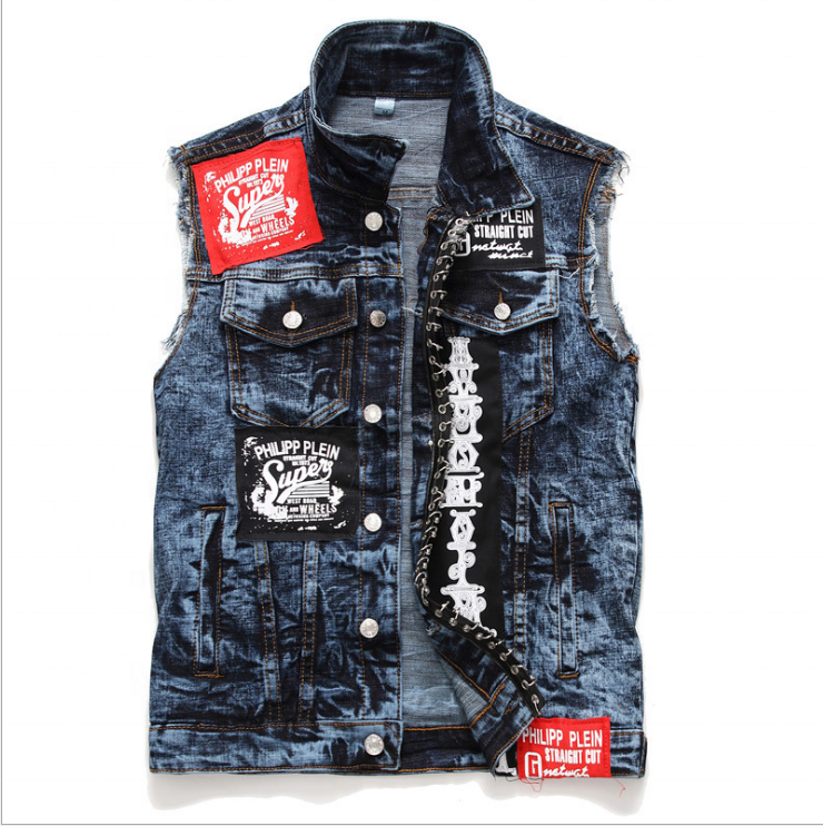 brand stylish design jeans sleeveless vest streetwear acid wash patchwork embroidery punk PU leather blue denim jacket for men